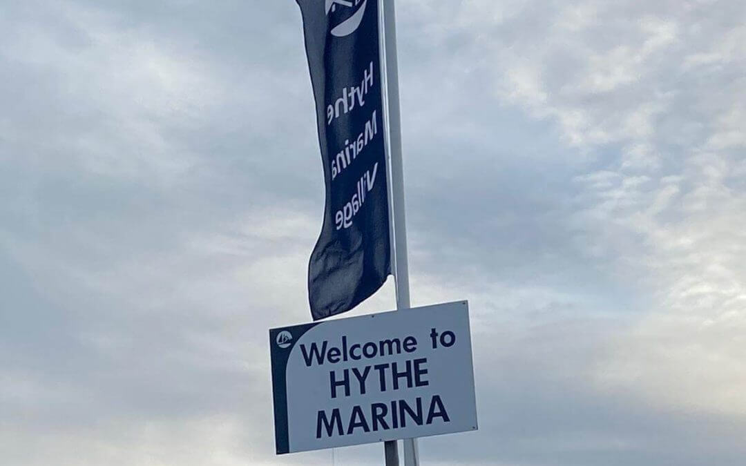Welcome to Hythe Marina sign